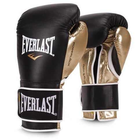EVERLAST GLOVES POWERLOCK LEATHER VELCRO BLACK/GOLD - MSM FIGHT SHOPEVERLAST