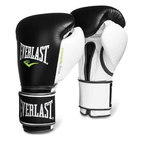 EVERLAST GLOVES POWERLOCK VELCRO LEATHER BLACK/WHITE - MSM FIGHT SHOPEVERLAST