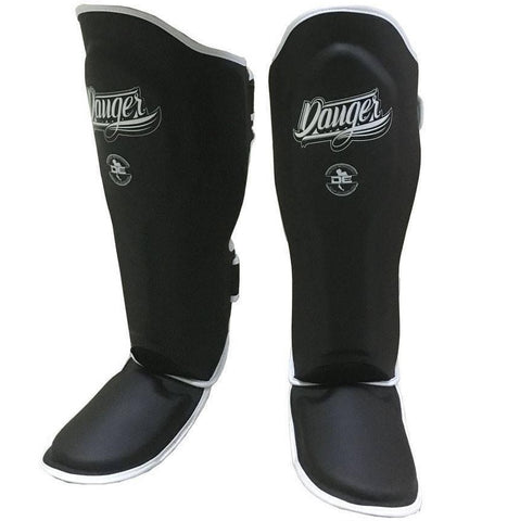 DANGER SHINGUARD SUPERMAX SYN BLACK/WHITE - MSM FIGHT SHOP