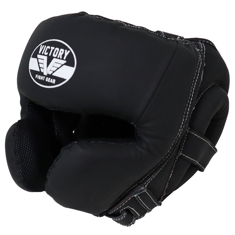 VICTORY HEADGEAR LEATHER CLASSIC SERIES BLACK/WHITE