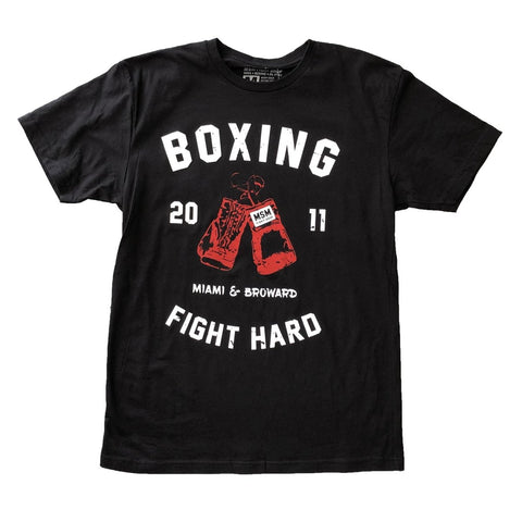 MSM SHIRT BOXING FIGHT HARD V2 BLACK / WHITE/ RED - MSM FIGHT SHOPMSM FIGHT SHOP