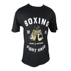 MSM SHIRT BOXING FIGHT HARD V2 BLACK / WHITE/GOLD - MSM FIGHT SHOPMSM FIGHT SHOP