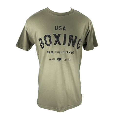 MSM SHIRT USA BOXING OLIVE GREEN / BLACK - MSM FIGHT SHOPMSM FIGHT SHOP