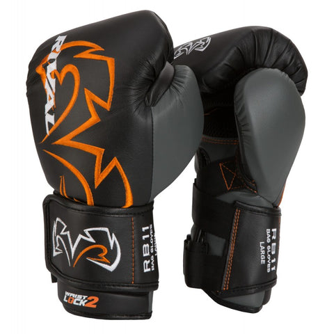 RIVAL GLOVES RB11 BOXING VELCRO BLACK/ORANGE