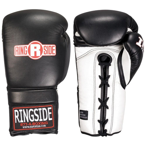 RINGSIDE GLOVES LACE UP MFTG BLACK/WHITE - MSM FIGHT SHOPRINGSIDE