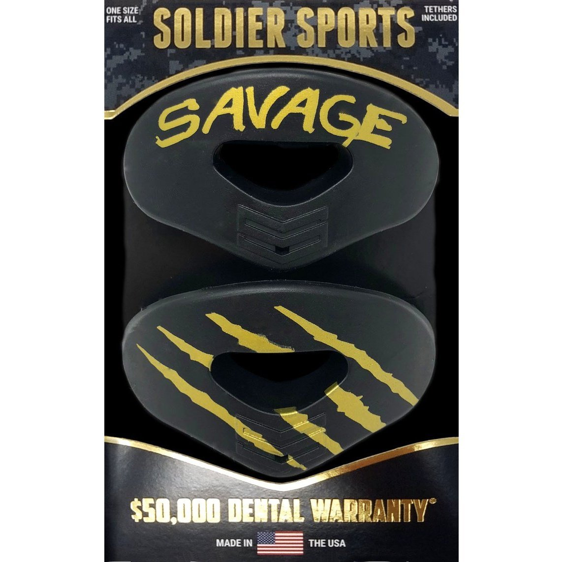 SOLDIER SPORTS MOUTHGUARD 2 PACK LIP PROTECTOR BLACK/GOLD $15.99 - MSM FIGHT SHOPSOLDIER SPORTS