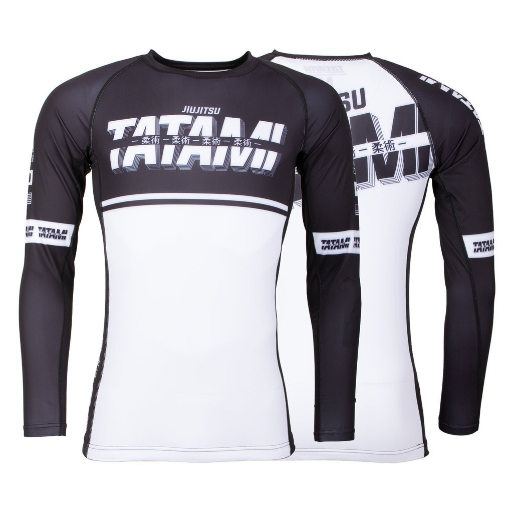 TATAMI RASHGUARD BJJ BURNOUT L/S BLACK/WHITE - MSM FIGHT SHOPTATAMI