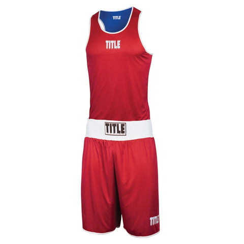 TITLE BOXING SET REVERSIBLE AMATEUR ELITE BLUE/RED - MSM FIGHT SHOPTITLE BOXING