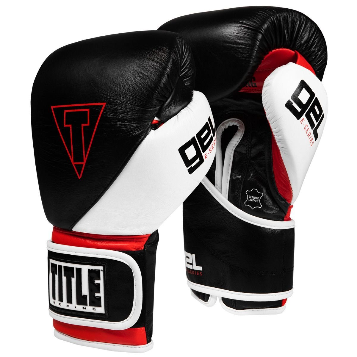 TITLE GLOVES LEATHER GEL E-SERIES BLACK/RED/WHITE - MSM FIGHT SHOPTITLE BOXING