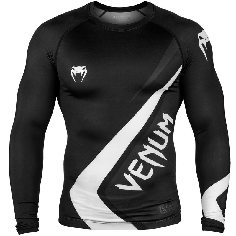 VENUM RASHGUARD CONTENDER 4.0 L/S BLACK/WHITE - MSM FIGHT SHOPVENUM