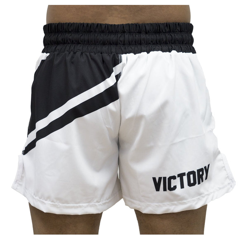 VICTORY FIGHT SHORTS HYBRID MMA V2 WHITE/BLACK - MSM FIGHT SHOPVICTORY FIGHT GEAR