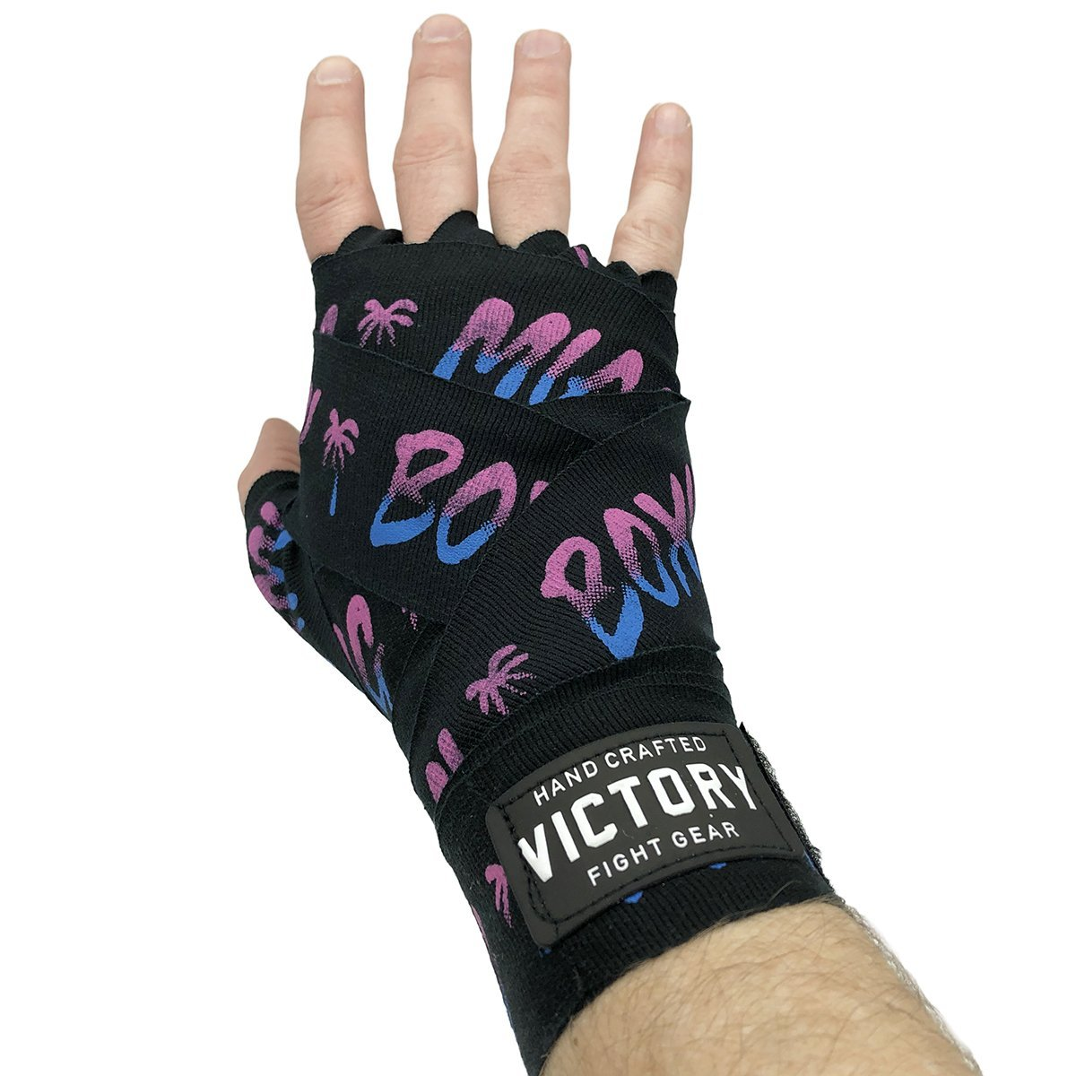 "VICTORY HANDWRAPS MIAMI BOXING SEMI STRETCH 4.5 METER 180"" BLACK/VICE - MSM FIGHT SHOPVICTORY FIGHT GEAR"