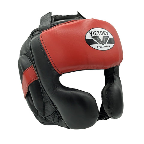 VICTORY HEADGEAR MEXICAN STYLE CHEEK LEATHER BLACK/RED O/S - MSM FIGHT SHOPVICTORY FIGHT GEAR