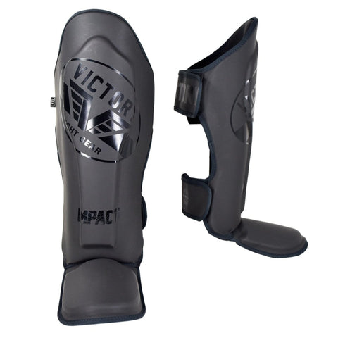 VICTORY SHINGUARDS IMPACT SERIES STEALTH BLACK / BLACK - MSM FIGHT SHOPVICTORY FIGHT GEAR