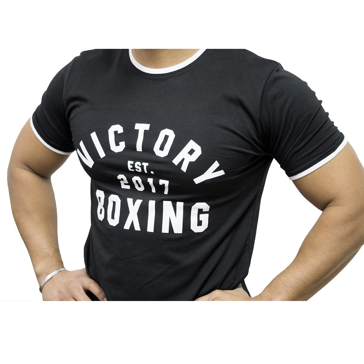 VICTORY SHIRT SLIM FIT BOXING '17 BLACK/WHITE - MSM FIGHT SHOPVICTORY FIGHT GEAR
