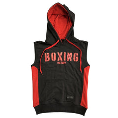 VICTORY SLEEVELESS HOODIE BOXING STENCIL BLACK/RED - MSM FIGHT SHOPVICTORY FIGHT GEAR