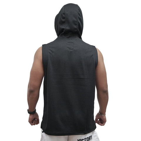 VICTORY SLEEVELESS HOODIE BOXING TRAINING BLACK/RED - MSM FIGHT SHOPVICTORY FIGHT GEAR