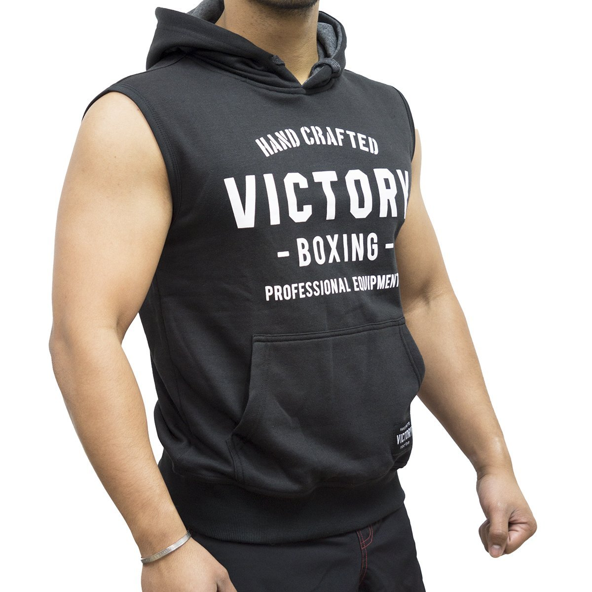 VICTORY SLEEVELESS HOODIE HAND CRAFTED BLACK/WHITE - MSM FIGHT SHOPVICTORY FIGHT GEAR
