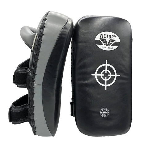 VICTORY THAI PADS LEATHER CLASSIC SERIES BLACK/GREY - MSM FIGHT SHOPVICTORY FIGHT GEAR