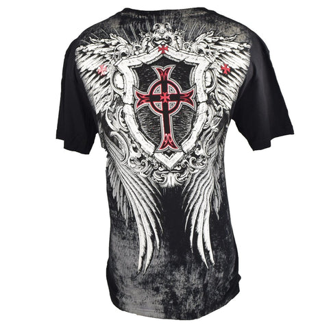 XTREME COUTURE SHIRT SKULL SHIELD 9 BLACK/RED/WHITE LARGE - MSM FIGHT SHOPXTREME COUTURE