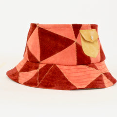 Uptown Yardie  Patchwork Leather Bucket Hat