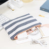 Fabric Pouch, Chambray Stripe