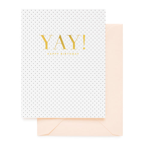 White and black dot birthday card with foil printed YAY and a pink envelope