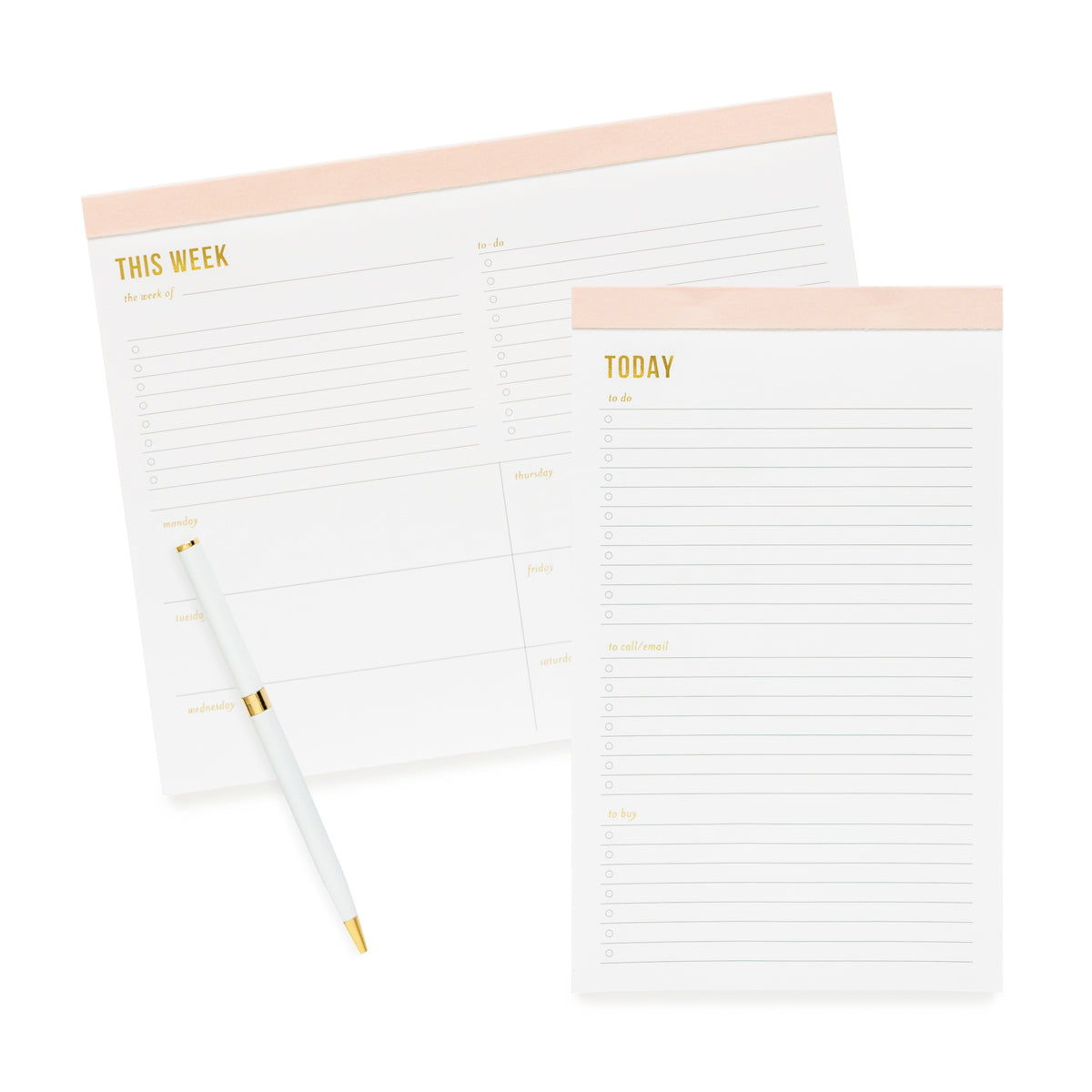 Stack of pale pink notepads - weekly and today.