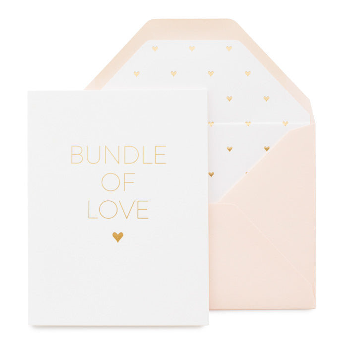 White greeting card with gold foil paired with pink envelope with gold heart liner
