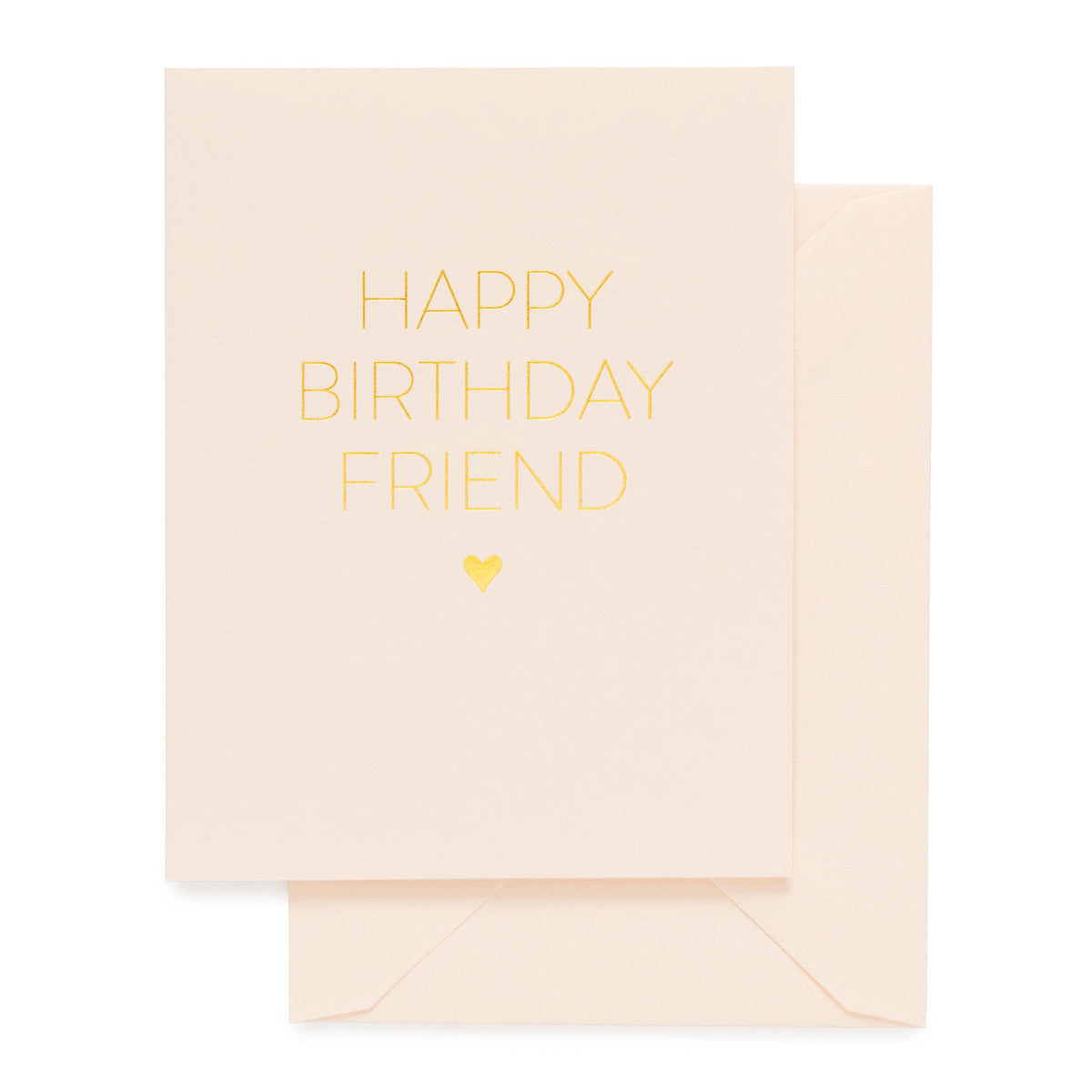 Pale pink and gold birthday card