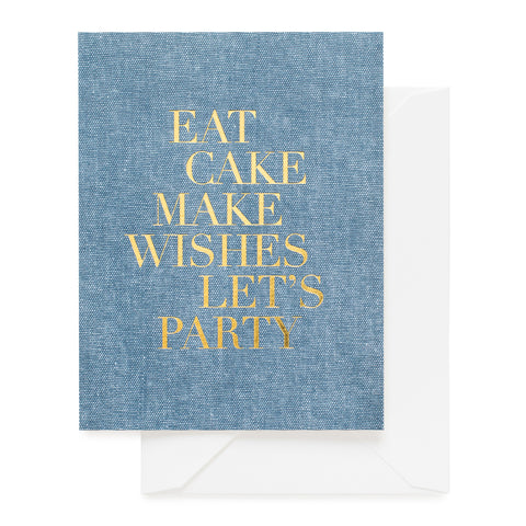 Chambray birthday card with gold foil