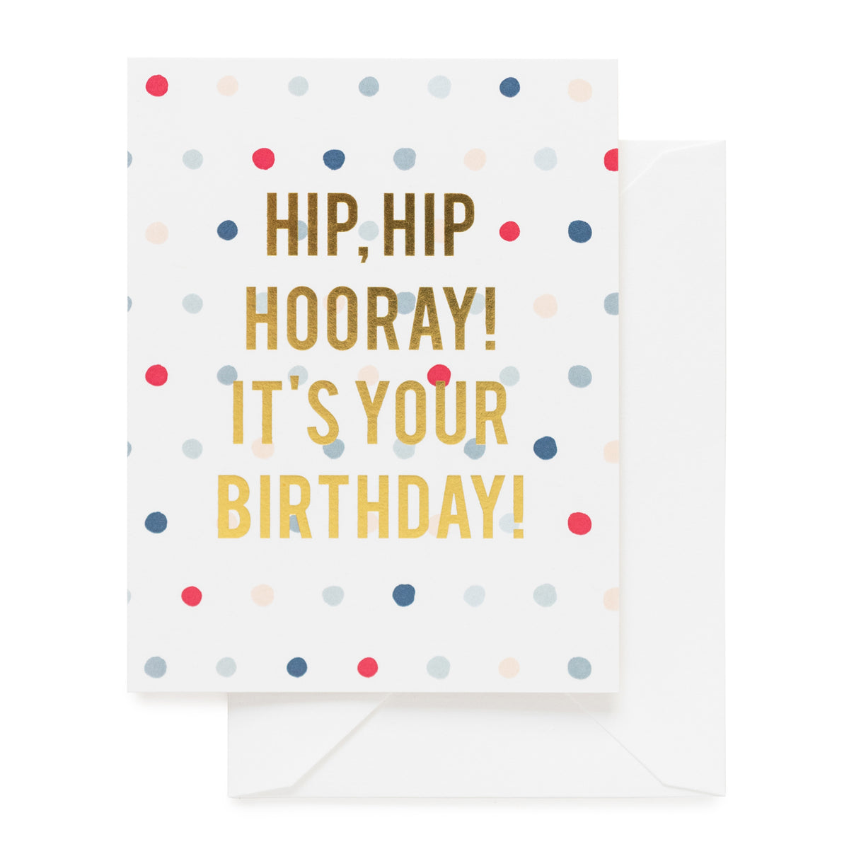 Colorful polka dot and gold foil birthday card