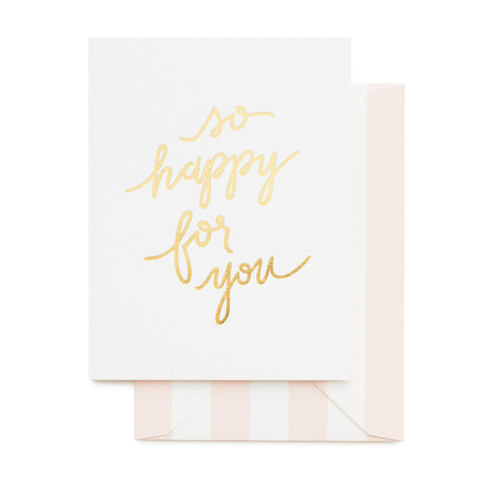 Gold foil printed congratulations card with pink stripe envelope