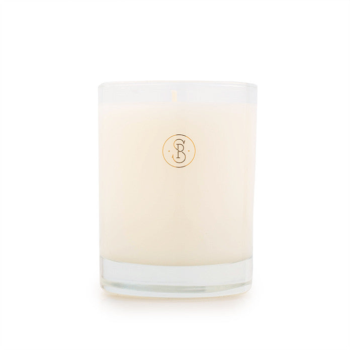 Glass candle with SP logo in gold foil