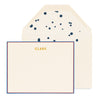 Blue and red bordered custom stationery with gold foil name and splatter dot liner