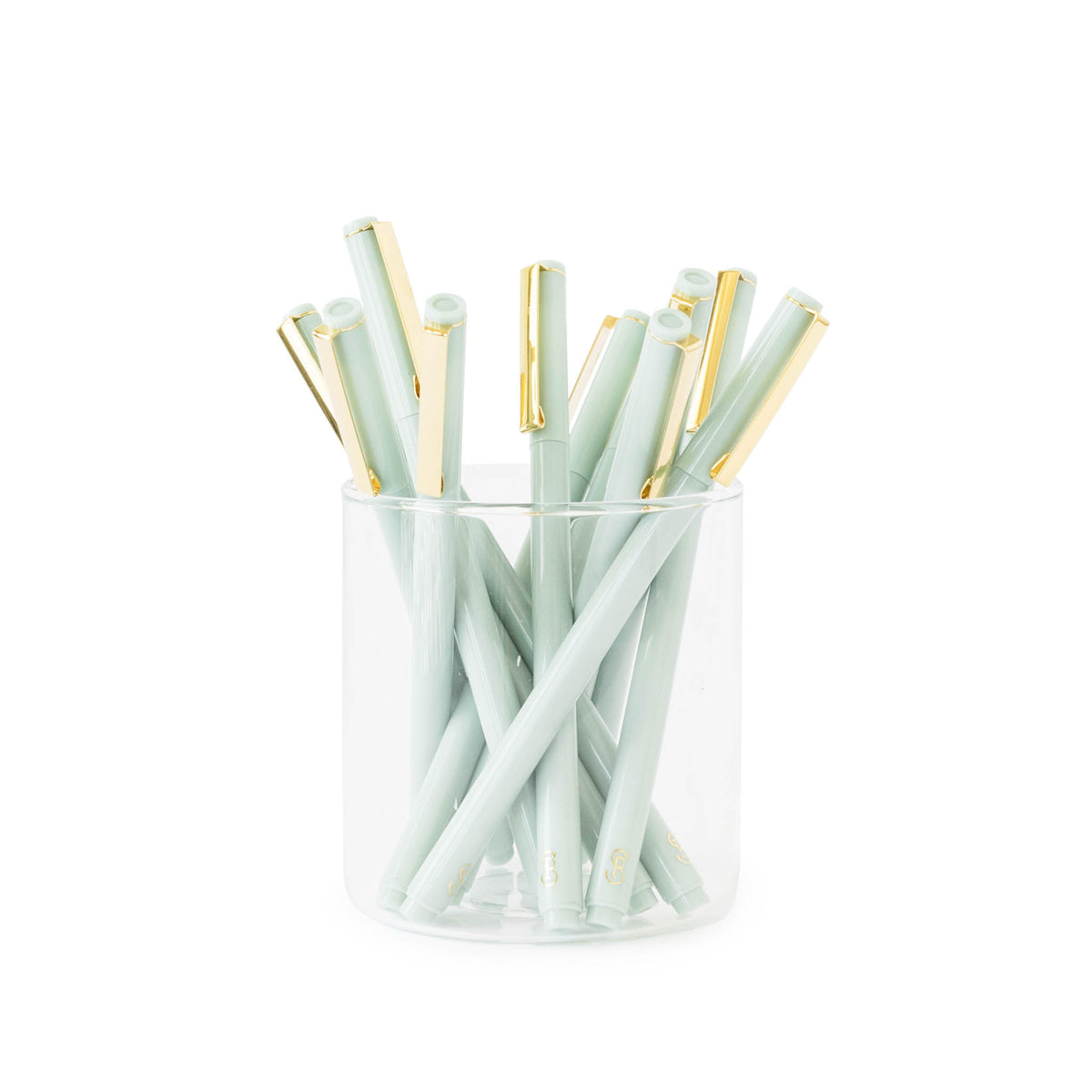 Mint Green and Gold Cap Felt Tip Pens in Glass Jar
