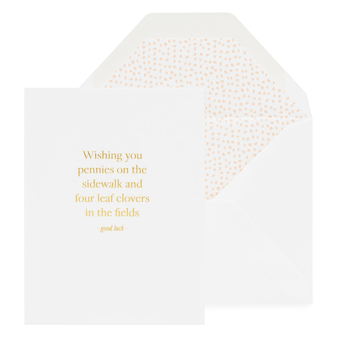 Gold foil printed white good luck card with white envelope and pink liner