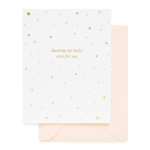 Pink and gold stars and hearts card with thanking my lucky stars for you