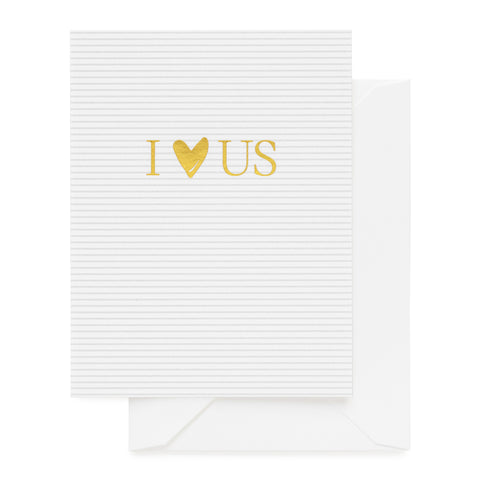 Grey stripe card with gold foil I heart us.