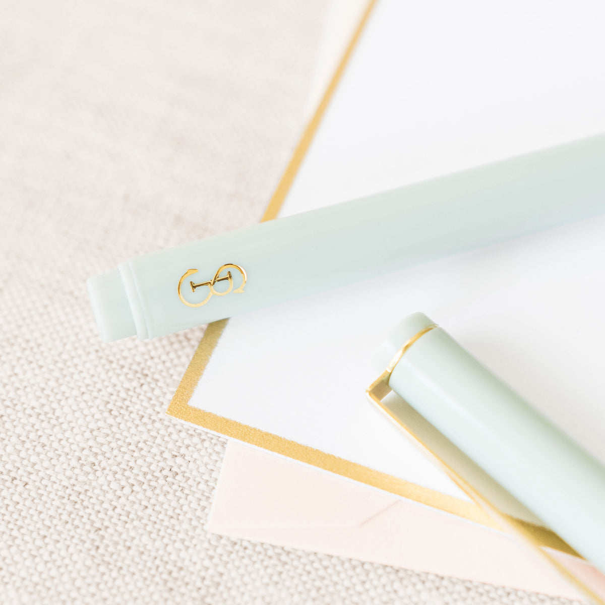 Mint Green Pen with Gold Logo