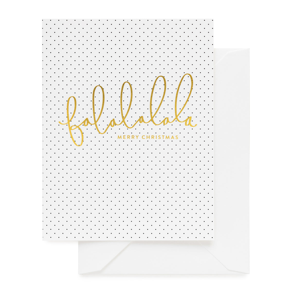 Black pin dot card with gold Falalalala