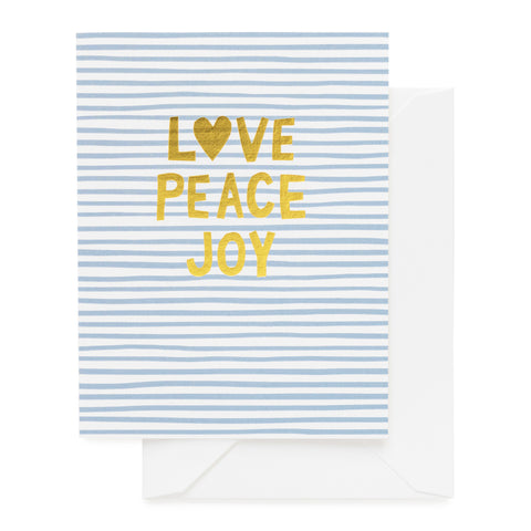 Blue and white striped card with gold Love Peace Joy