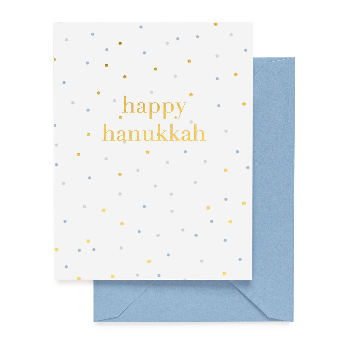 White card with Happy Hanukkah and gold and blue dots