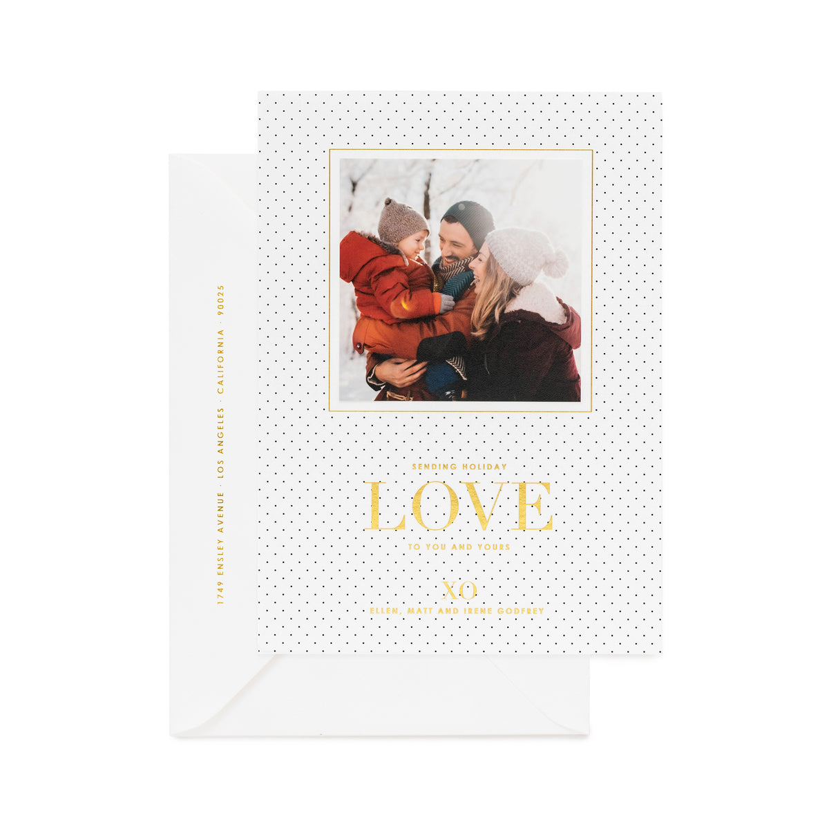 "Black pin dot holiday photo card with ""Sending Holiday Love to You and Yours"""