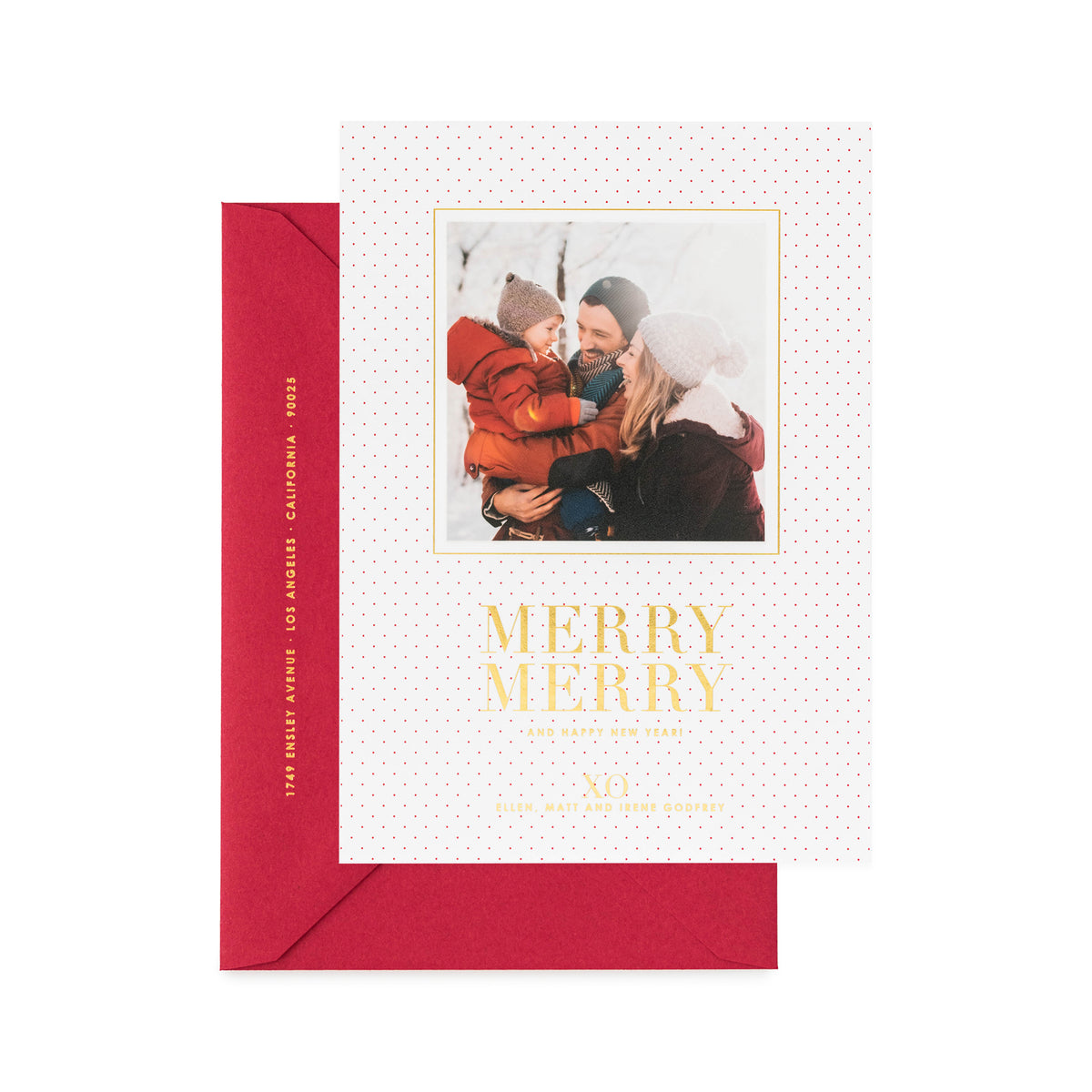 Red dot holiday photo card with Merry Merry and Happy New Year