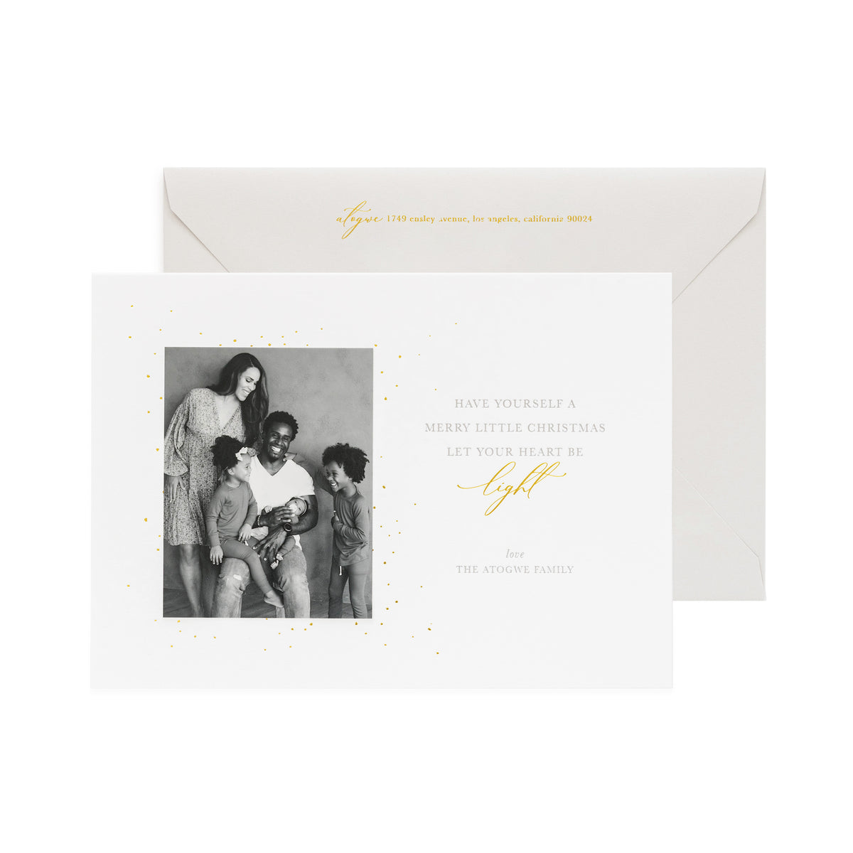 "White holiday photo card ""Have Yourself a Merry Little Christmas Let Your Heart Be Light"""