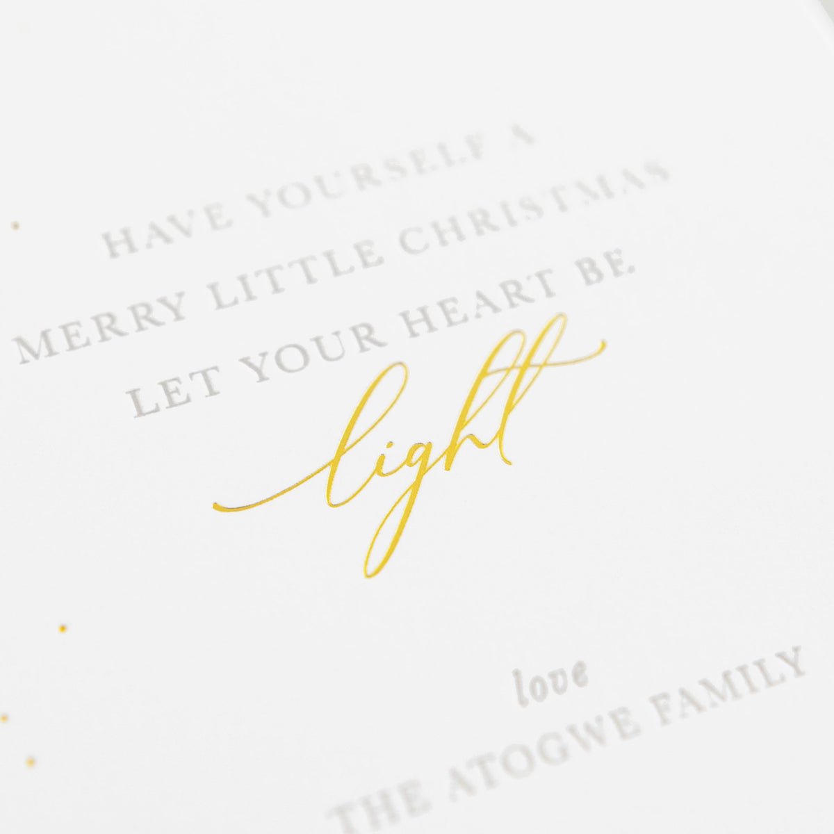 Close up of printing of Have yourself a merry little christmas let your heart be light