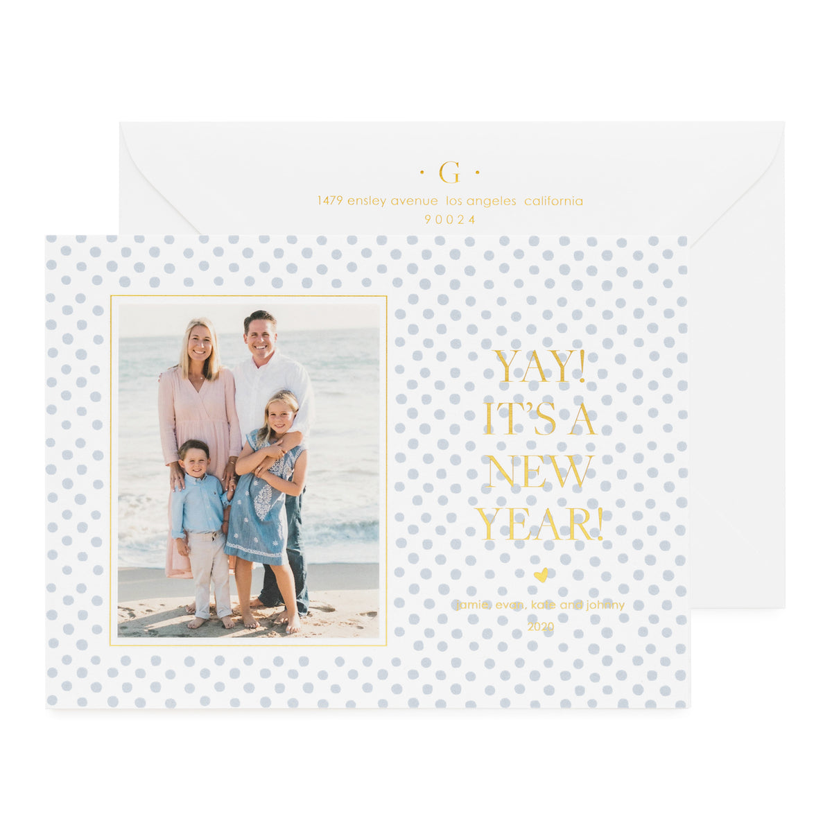 "Blue dot photo holiday card with ""Yay It's a New Year"" in gold foil."
