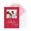 Red holiday photo card with holiday love and a red dot liner.