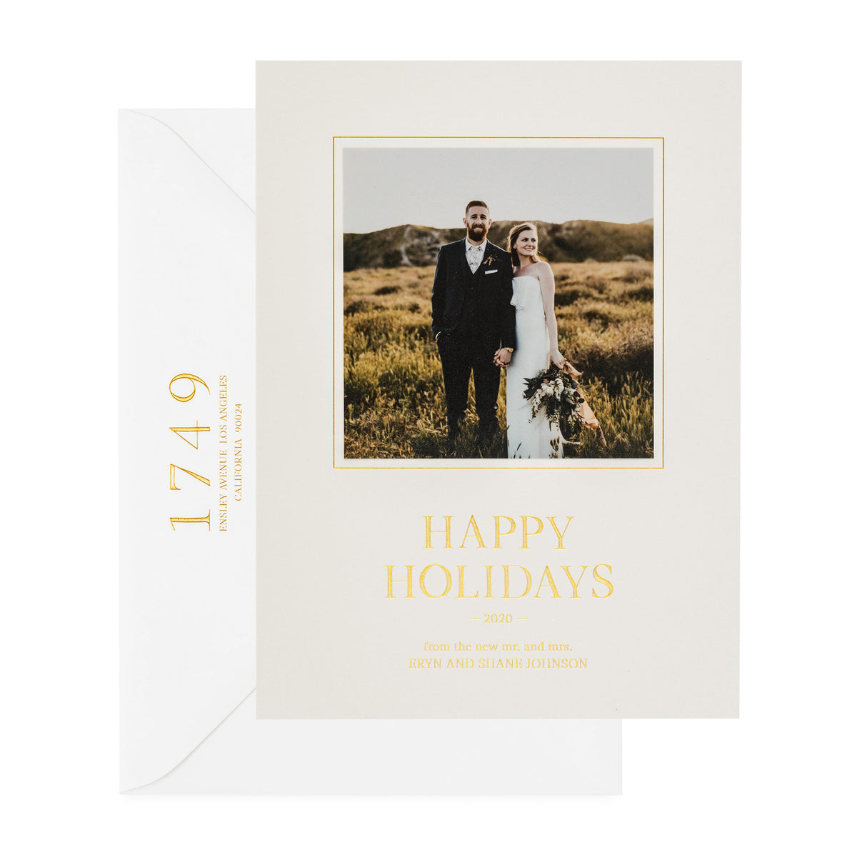 "Grey holiday photo card with ""Happy Holidays"" in gold foil"